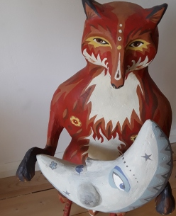 Fox and Moon. SOLD